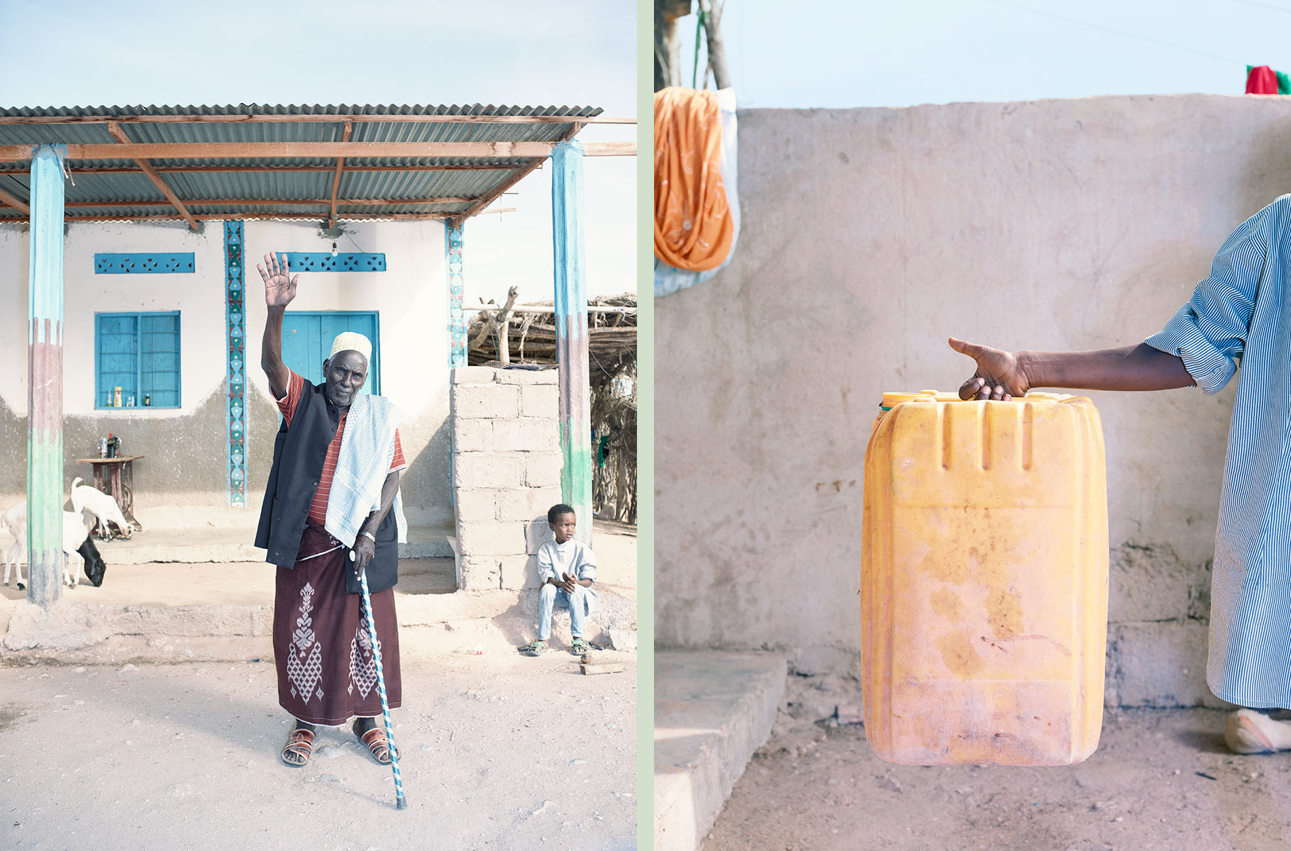 Dip 9 Hassan Haji Tawakal (80 years old) with Nasri Mustafe Girde (6 years old) sat on the step, Gargarra, Somaliland copy_with green